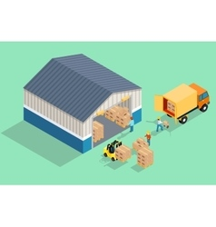 Isometric warehouse loading and unloading from vector