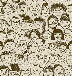 Seamless pattern of smiling crowd people vector
