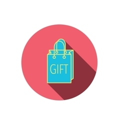 Gift shopping bag icon present handbag sign vector