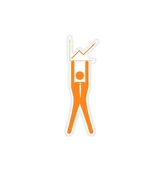 Stylish sticker on paper man holding graph vector