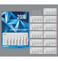 Calendar 2016 - planner for month vector