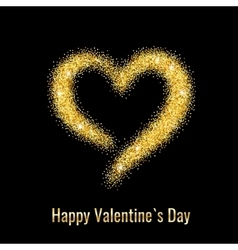 Happy valentines day greeting card with gold vector
