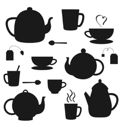 set of black teapots silhouettes vector image