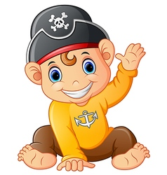 Baby pirate waving hand vector