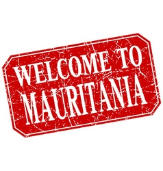 Welcome to mauritania red square grunge stamp vector