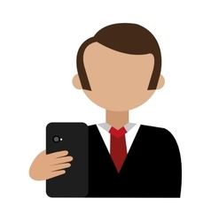 Cartoon avatar man and black smartphone front view vector