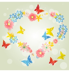 Abstract background-floral love shape heart from vector image vector image