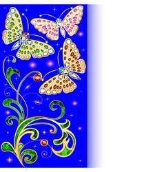 background with butterflies and ornaments vector image vector image