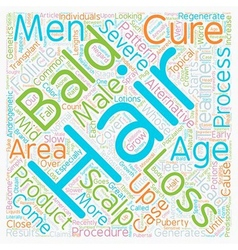 Baldness cures and treatments text background vector
