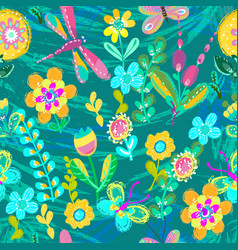 Bright colorful floral pattern for beautiful vector
