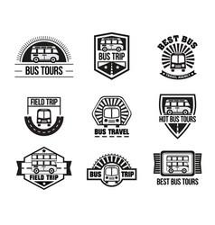 Bus trip and trvel tour badge logo vector
