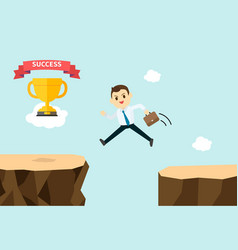 business man jump and cross mountains vector image