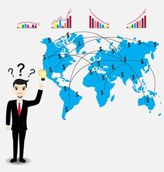 Businessman thinking work plan vector image vector image