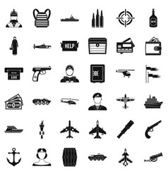 Combat vehicle icons set simple style vector