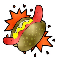 Comic cartoon hotdog vector