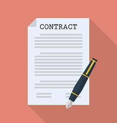 Contract document paper with pen vector