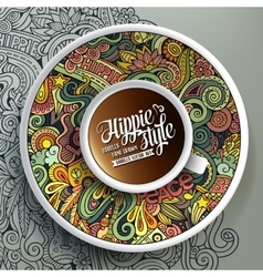 Cup of coffee and hippie doodles vector