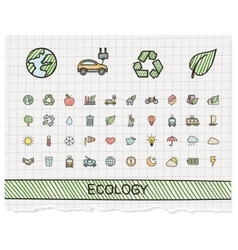 Ecology hand drawing line icons doodle vector