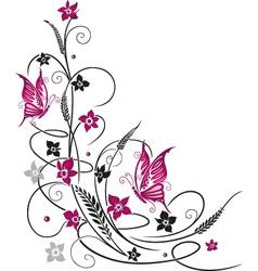 flowers butterflies black pink vector image
