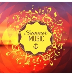 Geometrical yellow back with music notes and key vector image vector image