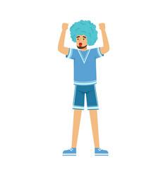 Happy bearded football fan character in blue wig vector