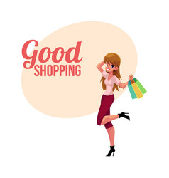 happy shopping poster banner with fashionable vector image vector image