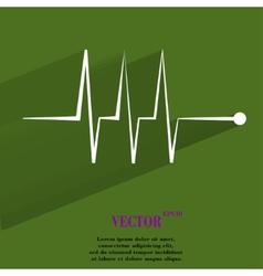 heart rhythm Flat modern web button with long vector image vector image