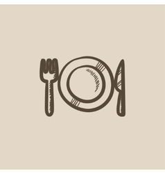 Plate with cutlery sketch icon vector image vector image