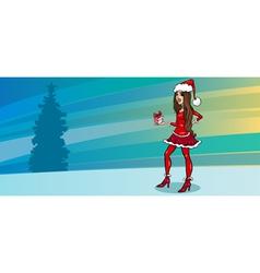 pretty girl as santa greeting card vector image