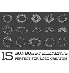 Sunburst on starburst element set for logo vector