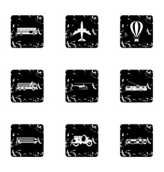 Transport for movement icons set grunge style vector