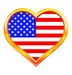 USA flag in heart vector image