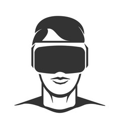 virtual reality man silhouette vector image vector image