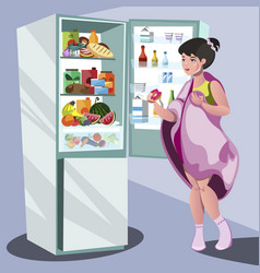 Woman near refrigerator thinking what to eat vector