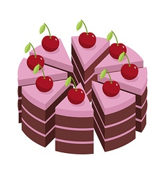 Cherry cake pieces of holiday pie birthday dessert vector