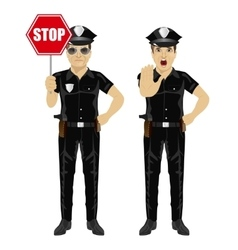 Two policemen holding stop sign vector