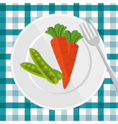 delicious plate with carrot and peas pot vector image