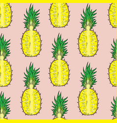 Pattern of cut pineapple on a pink background vector