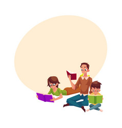 Man woman boy reading books sitting and lying on vector