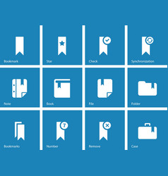 Bookmark tag favorite icons on blue background vector