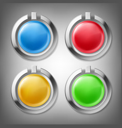 3d color buttons in metal frames vector image vector image