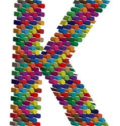 3d font letter K vector image vector image