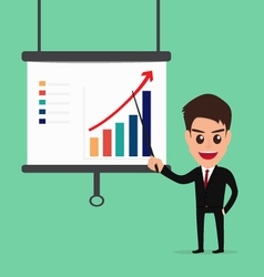 Businessman presenting and pointing business growt vector