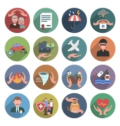 Insurance icons flat set vector