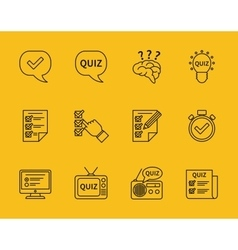 Set of line quiz icons vector