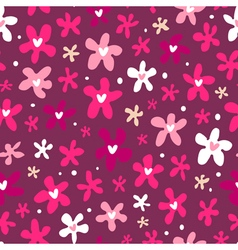 Floral seamless pattern on purple background vector
