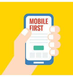 Flat style mobile first - strategy in web design vector