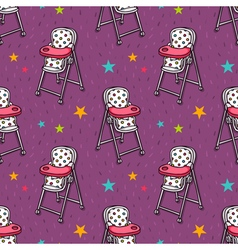 Seamless pattern with baby feeding chair vector