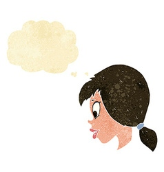 Cartoon pretty female face with thought bubble vector