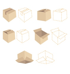 Brown cardboards and orange schemes of boxes vector